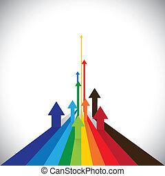 vetorial, represente, gráfico, coloridos, etc, este, setas, mostrando, algum, vendas, ilustração, também, competidores, vencedores, ativo, desempenho, desempenhos, empregado, losers., ou, lata