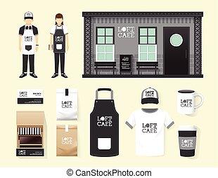 vetorial, restaurante, café, jogo, loja