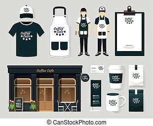 vetorial, restaurante, café, jogo, parte dianteira loja, desenho, voador, menu, pacote, t-shirt, boné, uniforme, e, exposição, design/, esquema, jogo, de, identidade incorporada, escarneça, cima, template.