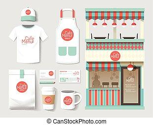 vetorial, restaurante, café, jogo, parte dianteira loja, desenho, voador, pacote, t-shirt, boné