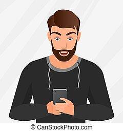 vetorial, retrato, de, surpreendido, bonito, homem jovem, com, móvel, telefone.