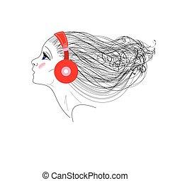vetorial, retrato, menina, fones, gráficos