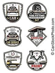 vetorial, retro, ícones, para, car, auto serviço