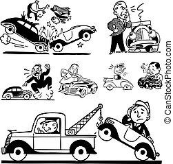 vetorial, retro, acidente carro, gráficos