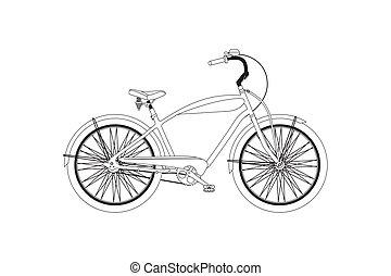 vetorial, retro, bicycle.