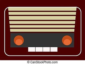 vetorial, retro, branca, rádio, ilustração, experiência.