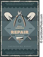 vetorial, retro, cartaz, construção, e, reparar, ferramenta