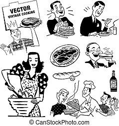 vetorial, retro, cozinha, gráficos