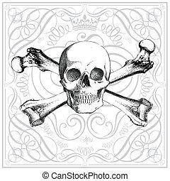 vetorial, retro, ornamentos, cranio