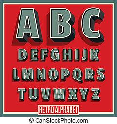 vetorial, retro, tipo, fonte, alfabeto