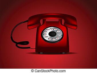 vetorial,  retro, vermelho, telefone