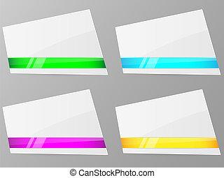 vetorial, ribbon., branca, papel, illustration.