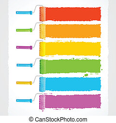 vetorial, rolo, escovas, com, cores arco-íris