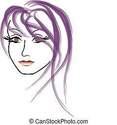 vetorial, rosto, de, um, mulher bonita