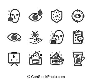 vetorial, rosto, face., ícones, alvo, olho, jogo, saudável, médico, tal, creme