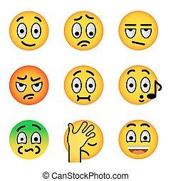 vetorial, rosto, jogo, apartamento, ícones, smiley, emoji