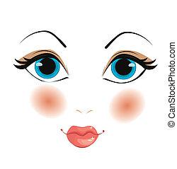 vetorial, rosto mulher