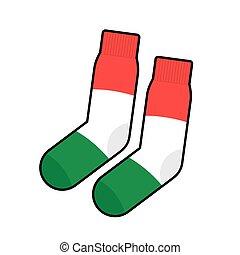 vetorial, roupa, patriota, meias, flag., italy., acessório, ilustração, italiano