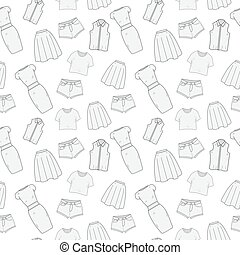vetorial, roupa, roupa, doodle, hand-drawing, mulheres, padrão, sketch., seamless, roupas, roupas, style., illustration., experiência.
