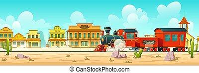 vetorial, rua, trem, cidade ocidental, vapor