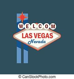 vetorial, rua, welome, signboard, ilustração, vegas, retro, las