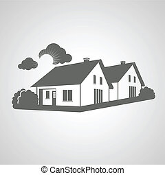 vetorial, símbolo, de, lar, grupo, de, casas, ícone, realty, silueta, sinal, de, bens imóveis