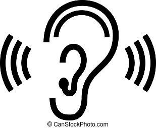 vetorial, símbolo, orelha