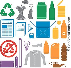 vetorial, sólido, cores, reciclagem, e, vário, desperdício,...