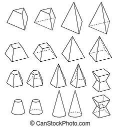 vetorial, sólido, geometria