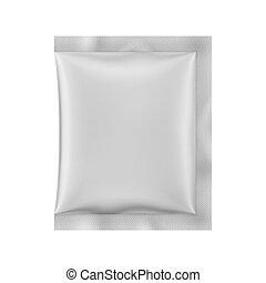 vetorial, sachet., illustration., matte, papel, branca, 3d