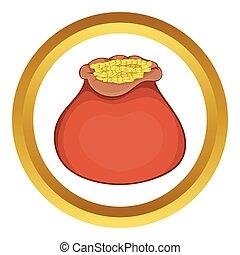 vetorial, saco, moedas, ouro, ícone