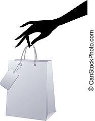 vetorial, saco shopping, mão