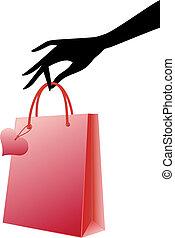 vetorial, saco shopping, vermelho, mão