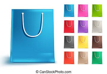 vetorial, sacolas, jogo, shopping, coloridos, isolado, saco coleção, papel, white.