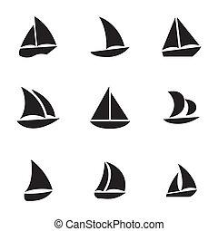 vetorial, sailboat, jogo, pretas, ícones