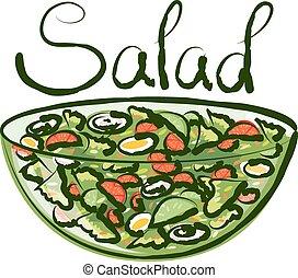 vetorial, salada verde