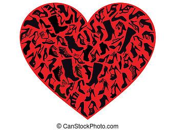 vetorial, sapato, coração vermelho