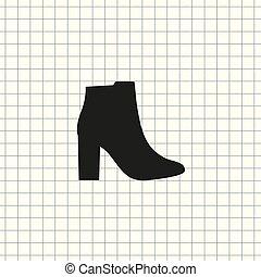 vetorial, sapatos, femininas, ícone