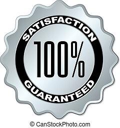 vetorial, satisfação, guaranteed, etiqueta