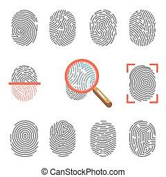 vetorial, scanner, ícones, impressões digitais, fingertip,...