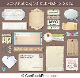 vetorial, scrapbooking, 2, jogo, elementos