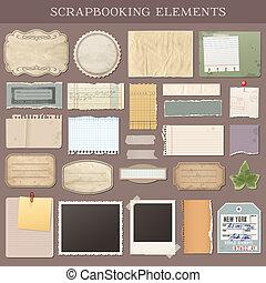vetorial, scrapbooking, elementos