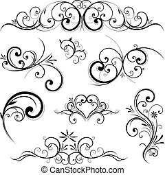vetorial, scroll, ornamento