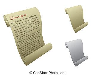 vetorial, scroll papel