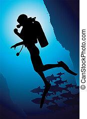 vetorial, scuba, coloridos, mergulhador