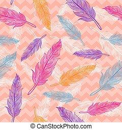 vetorial, seamless, coloridos, penas, padrão