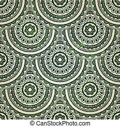 vetorial, seamless, oriental, floral, fundo, em, verde