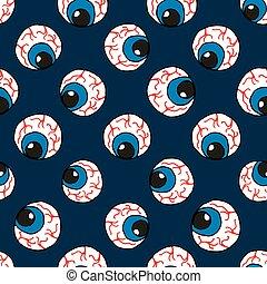 vetorial, seamless, padrão, com, azul, eyes., assustador, olho, padrão, para, a, hallowe'en, partido