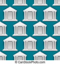 vetorial, seamless, padrão, de, edifícios, bancos