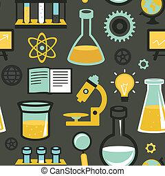 vetorial, seamless, padrão, -, educação ciência